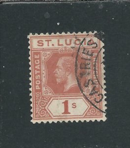 ST LUCIA 1912-21 1s ORANGE-BROWN FU SG 86 CAT £48