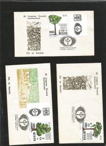 O -m) 1985 MEXICO, FORESTRY CONGRESS MEXICO, TREE, CONIFER, SILK COTTON, MAHO...