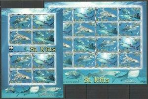 P0460 2007 ST. KITTS FAUNA WWF MARINE LIFE TIGER SHARKS #955-58 SH+KB FIX