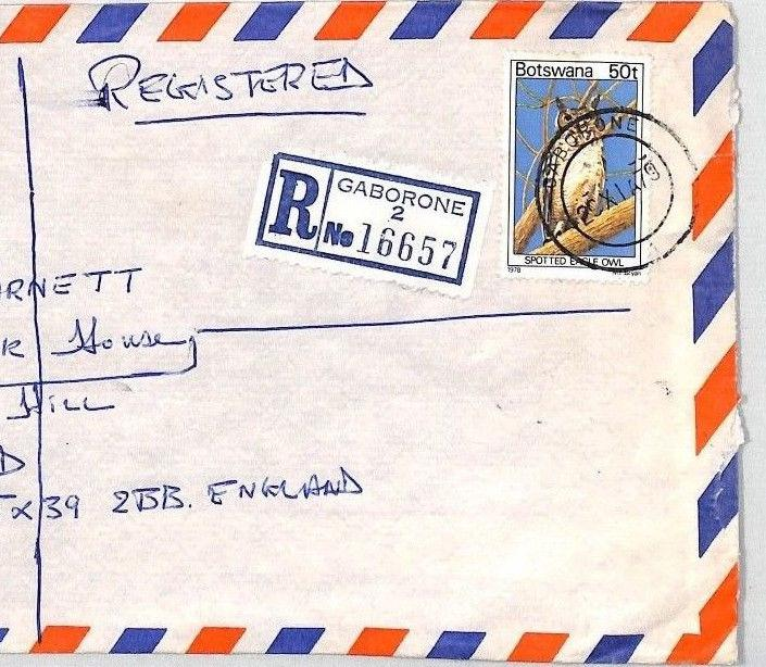 BT233 1979 Botswana *Gaborone* Registered Air Mail 50t OWL {samwells-covers}