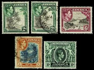 1938-51 Jamaica Perf Variations - New & Used - F/VF+ - CV$21.50 (ESP#3532)