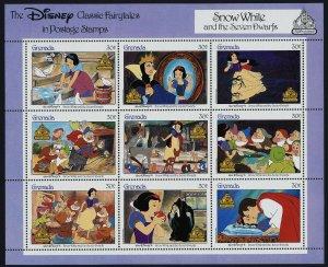 Grenada 1540 perf Selvedge MNH Disney, Snow White & 7 Dwarfs, Birds