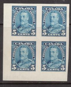 Canada #221a Extra Fine Never Hinged LL Imperf Block