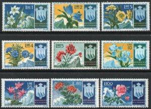SAN MARINO-1953 Flowers Set of 9 Sg 464-472 UNMOUNTED MINT V41541