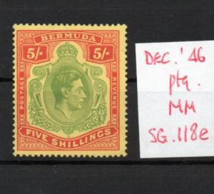 Bermuda George Vi Sg118e Décembre. 46 Ptg. Légèrement à Charnières