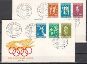 Luxembourg, Scott cat. 460-465. 19th Summer Olympics. 2 First day covers. ^