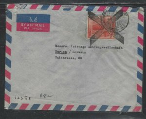 PAKISTAN COVER (PP1404B) 1958  R1 ON A/M COVER BIG BLACK X CANCEL TO SWITZERLAND