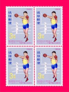 Ryukyu 1969 Sports Boxing block of 4v Sc181 MNH