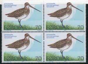 Faroe Islands Sc  28-0 1977 Shore Birds stamp set blocks of 3  mint NH