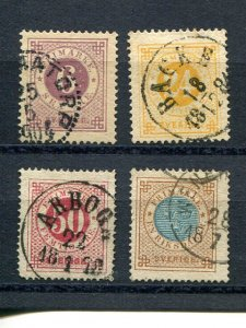 Sweden  #26,27,34a,44 latter with posthorn on back- Lakeshore Philatelics
