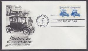 US Sc 1906, PNC 2 FDC. 1981 17c Electric Auto Joint Line Coil Pair