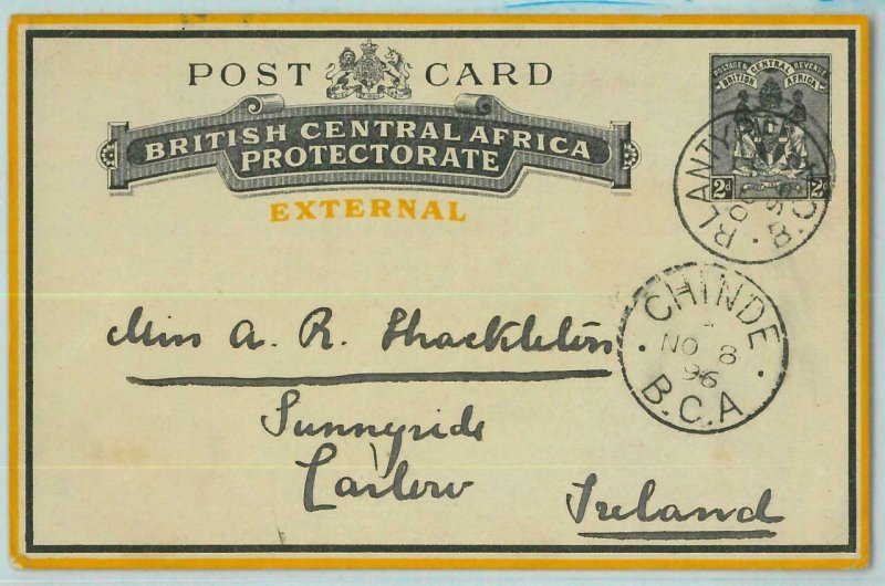 bk0215 - British Central Africa -  POSTAL STATIONERY H.G. #2  to Ireland - RARE