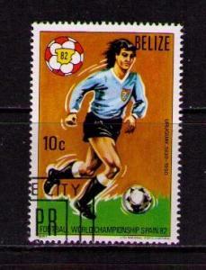 BELIZE Sc# 601 USED FVF CTO Soccer Football Player Uruguay