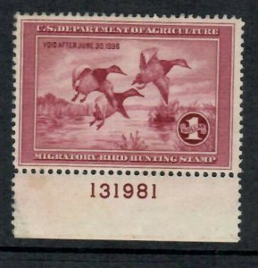 RW2 1935 Federal Duck Stamp-F-VF Plate Single- OG Gum Disturbed-No other faults
