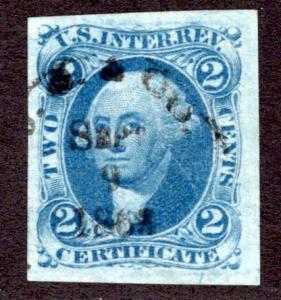 R7a - 2c - Certificate Revenue- Blue - imperf - used - Black h/s, Sep 9 186...