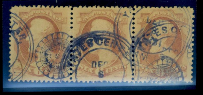 186 Used Strip Of 3 F-VF Kans Wheel of Fortune Cancels EstVal$125