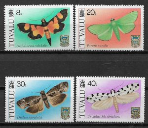 Tuvalu MNH 138-41 Moths Insects 1980