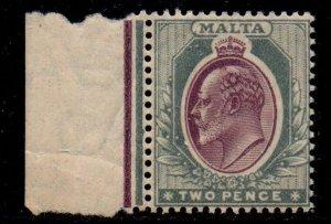Malta Sc 33 1905 2d gray & red violet Edward VII stamp mint