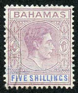 Bahamas SG156a KGVI 5/- Reddish Lilac and Blue Thin STRIATED paper