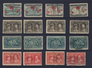 16x Canada Stamps  4x Each 1898 Map #86 1908 Quebec #96-97-98 Cat. Value= $82.00