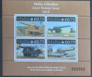 MALTA MINIATURE SHEET 2010 JOINT ISSUE WITH GIBRALTAR GUNS SGMS1656  MNH CAT £8