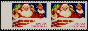 #2579a CHRISTMAS 1991 HORIZONTAL PAIR, IMPERF MAJOR ERROR BQ5232