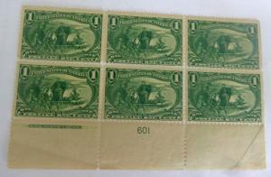 #285 1 cent Trans Mississippi plate block