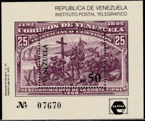 VENEZUELA 1466, EXFILVE'91 PHILAT. EXPO. SOUV. S. STAMP-ON-STAMP MNH F-VF.(306)