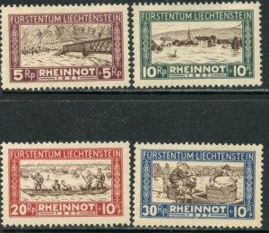 LIECHTENSTEIN Sc#B7-B10 1928 Rhine Flooding Complete Set OG Mint Hinged*