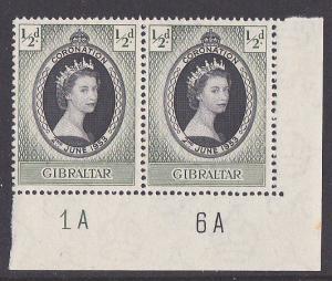 GIBRALTAR 1953 Coronation plate pair MNH....................................3104