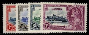 JAMAICA GV SG114-117, SILVER JUBILEE set, 1d scarlet, LH MINT. Cat £21.