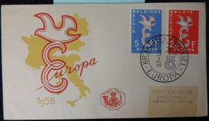 Belgium 1958 FDC europa maps posthorn brussels pm good used