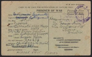 EGYPT 1942 Postcard ex Italian POW in British Camp 310 Suez to Italy........2659