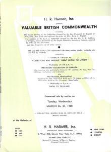 HR Harmer: Sale # 1825-1826  -  Valuable British Commonwe...