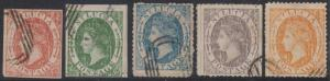 BC SAINT LUCIA Sc Type A1 GROUP OF 5 SPIRO LITHO FORGERIES BOGUS CANCELS F,VF