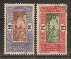 Dahomey 1922 Opts 10fr & 20fr SG73-74 Fine Used