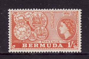 Bermuda-Sc #155-unused NH-1sh orange-QEII-Hog Coins-1953-8-