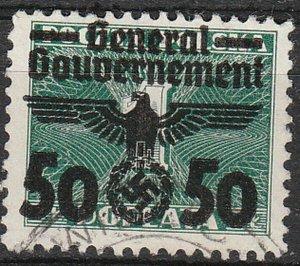 Stamp Germany Poland General Gov't Mi 039 Sc N35 1940 WWII Emblem Eagle Used