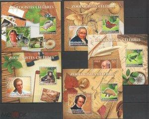 PE148-152 2012 MALI BUTTERFLIES DINOSAURS ANIMALS FAUNA ZOOLOGISTS !!! 5BL MNH