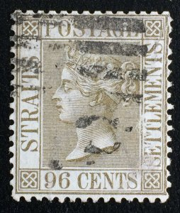 MALAYA 1888 STRAITS SETTLEMENTS QV 96c Used wmk CA SG#71 M2629