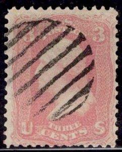 US Stamp #64B 3c Rose Pink Washington USED SCV $150. Beautiful color