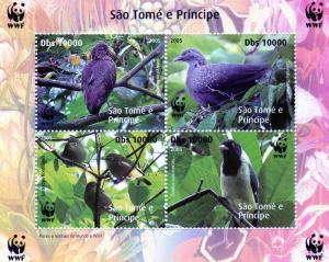 Sao Tome and Principe 2005 WWF/Birds S/S Perforated  MNH Groth# U