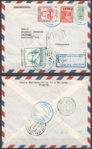 A0543 1955 COLOMBIA TO VENEZUELA FAMOUS PEOPLE !!! AIR MAIL VERY RARE FDC