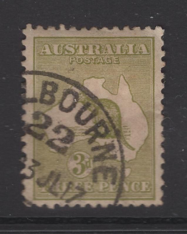 Australia 1913 Stamps 3d Kangaroo  & Map Scott 5 F