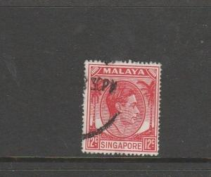 Singapore 1948/52 P 17.5 x 18 12c scarlet Used SG 22a