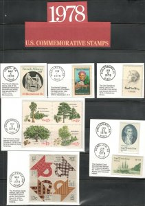 1731-1769 US Postage Commemorative Stamps (1978) In Mounts & Post Marked  MNH