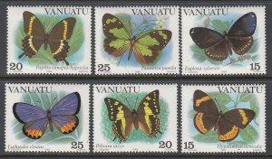 Vanuatu 346a-348b Butterflies Singles MNH VF