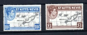 St Kitts & Nevis 1948 Maps £1 & 10/- fine used SF77e & 77f WS18799