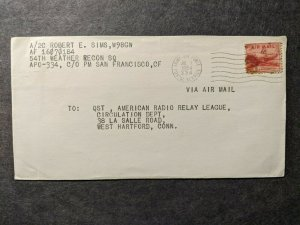 APO 334 ANDERSON AIR FORCE BASE, AGANA, GUAM 1954 Army Cover 54 WEATHER RECON SQ