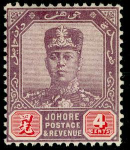 MALAYSIA - Johore SG108, 4c purple & carmine, LH MINT. WMK SCRIPT.